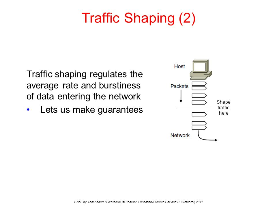 Traffic Shaping (2) Traffic shaping regulates the average rate and burstiness of data entering the network.