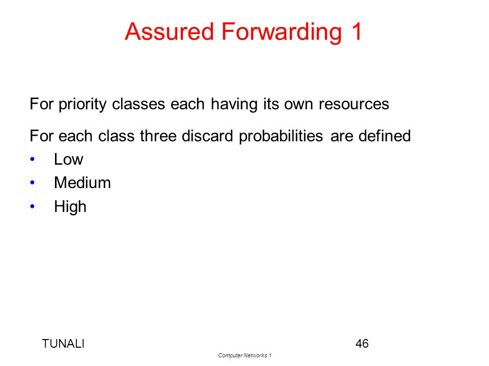 Assured Forwarding 1 For priority classes each having its own resources. For each class three discard probabilities are defined.
