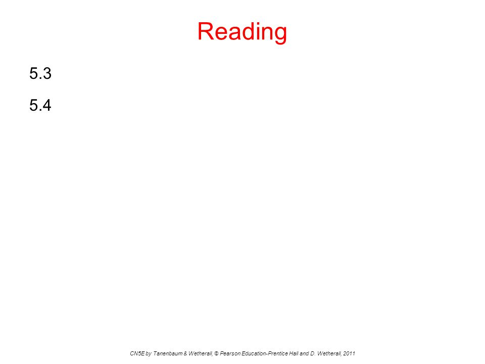 Reading 5.3 5.4 CN5E by Tanenbaum & Wetherall, © Pearson Education-Prentice Hall and D.