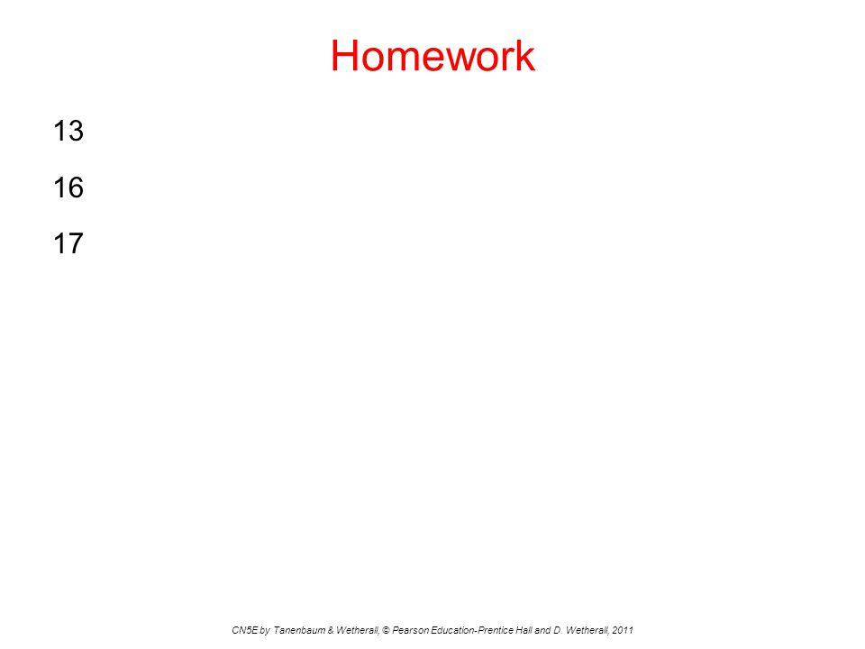 Homework 13 16 17 CN5E by Tanenbaum & Wetherall, © Pearson Education-Prentice Hall and D.