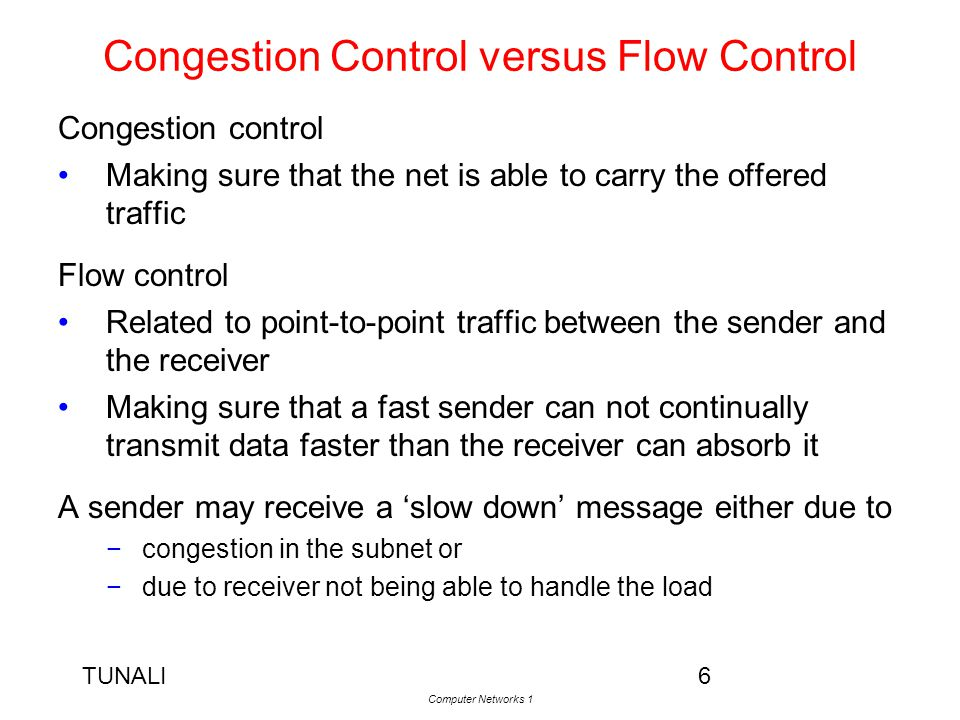 Congestion Control versus Flow Control