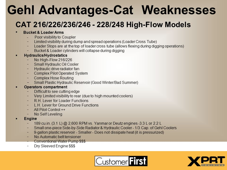 Gehl Advantages-Cat Weaknesses