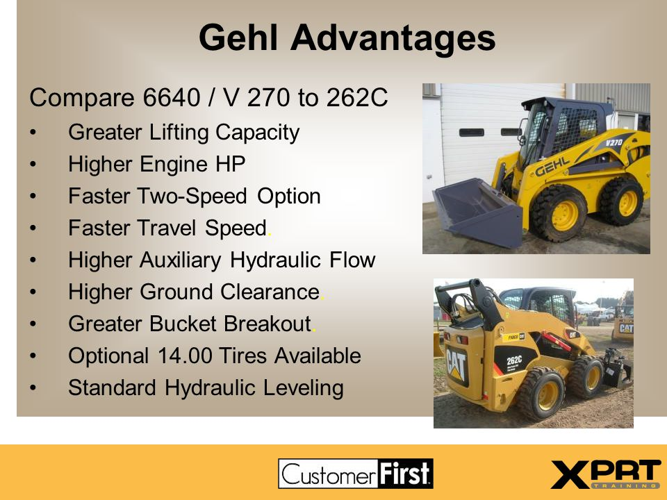Gehl Advantages Compare 6640 / V 270 to 262C Greater Lifting Capacity