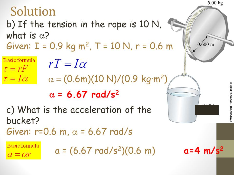 Solution b) If the tension in the rope is 10 N, what is a