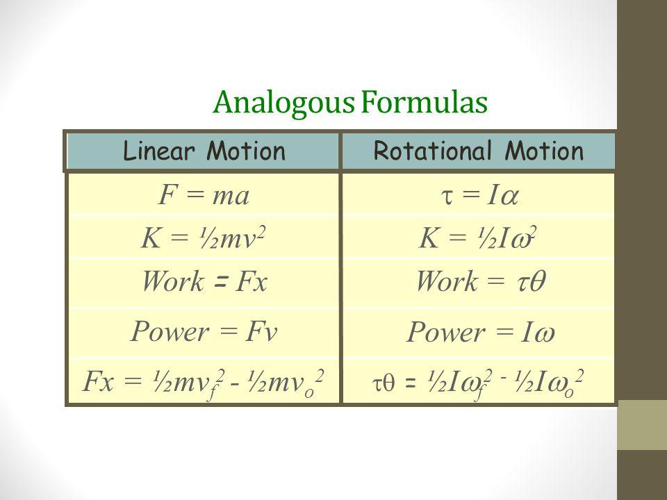 Analogous Formulas F = ma  = I K = ½mv2 K = ½I2 Work = Fx Work = tq