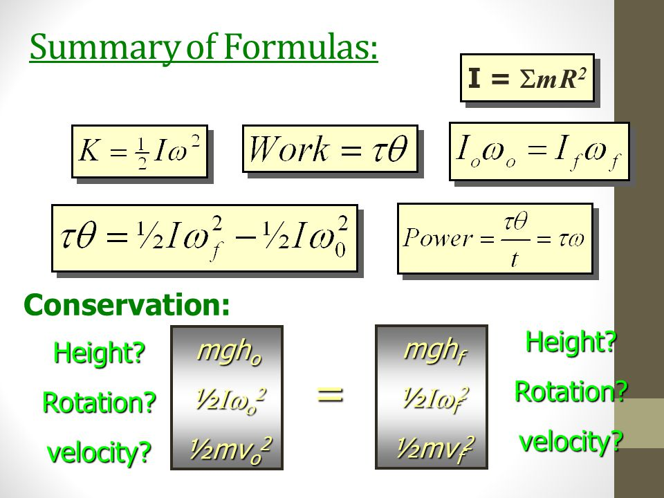 = Summary of Formulas: Conservation: I = SmR2 mgho mghf Height ½Iwo2