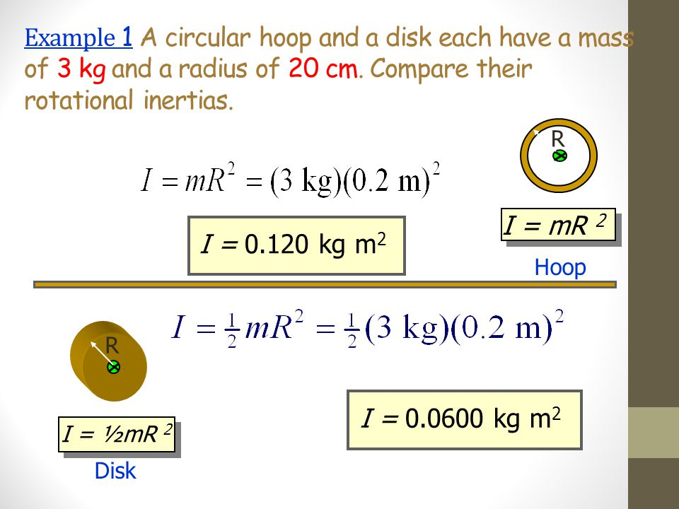 Example 1 A circular hoop and a disk each have a mass of 3 kg and a radius of 20 cm. Compare their rotational inertias.