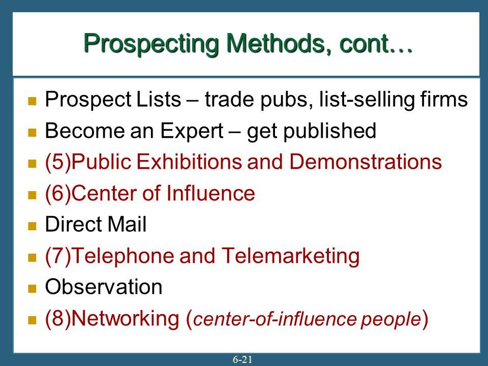 Prospecting Methods, cont…