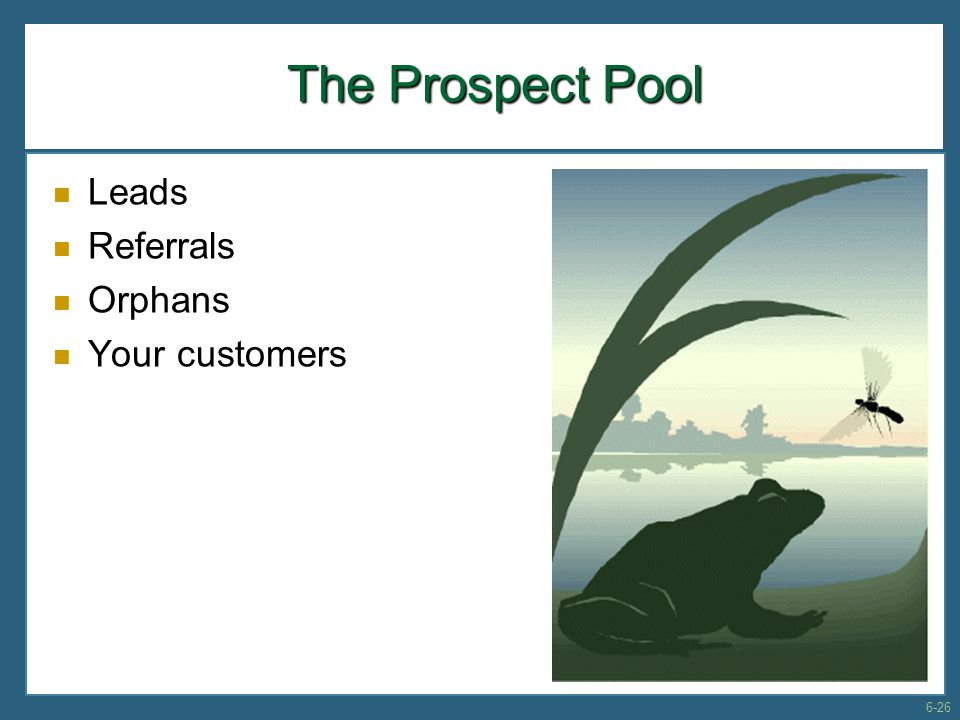 The Prospect Pool Leads Referrals Orphans Your customers 6-26