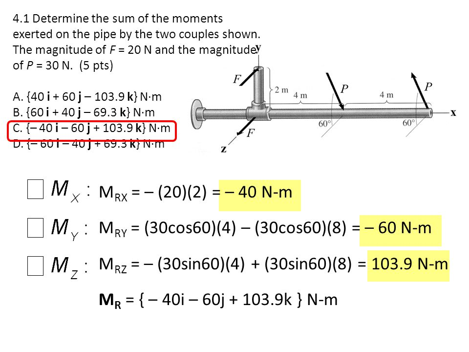 MRY = (30cos60)(4) – (30cos60)(8) = – 60 N-m