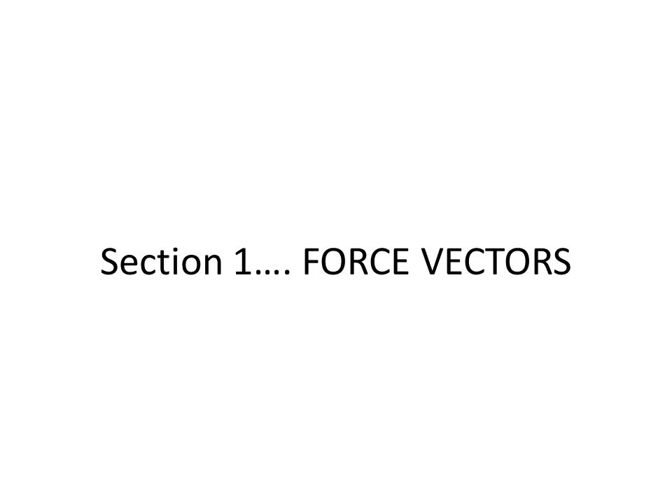 Section 1…. FORCE VECTORS