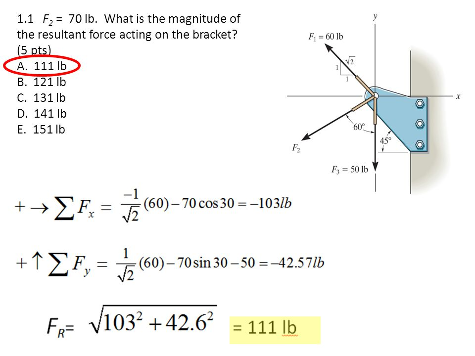 1.1 F2 = 70 lb. What is the magnitude of the resultant force acting on the bracket (5 pts)