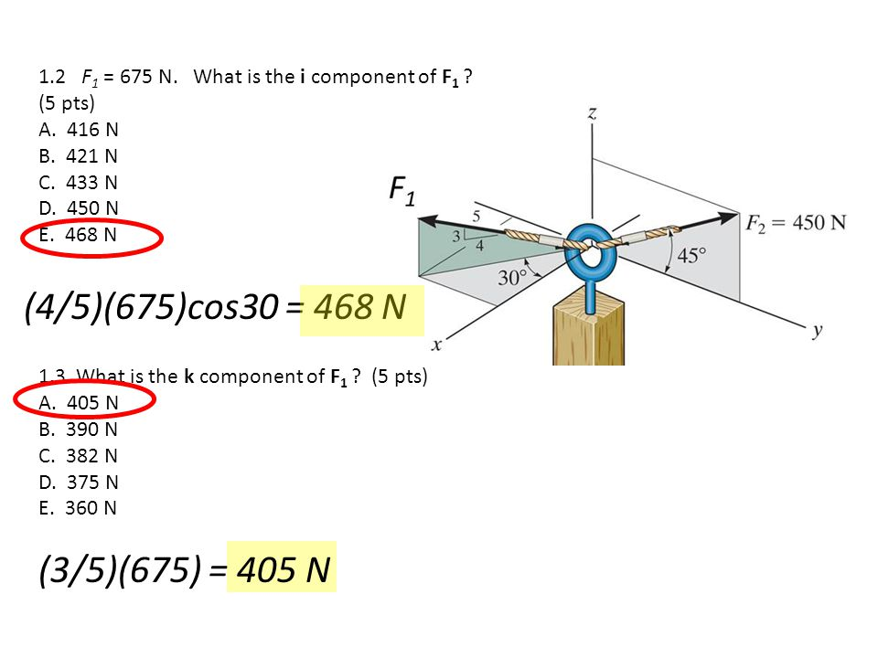 1.2 F1 = 675 N. What is the i component of F1 (5 pts)