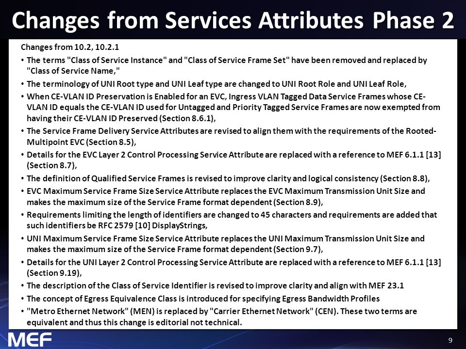 Changes from Services Attributes Phase 2