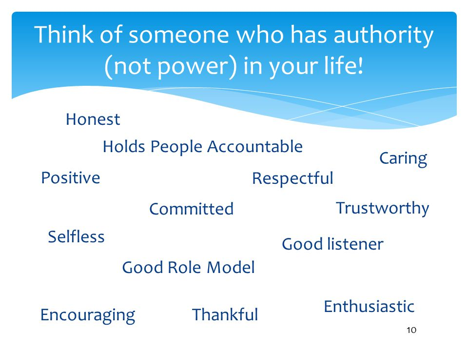 Think of someone who has authority (not power) in your life!