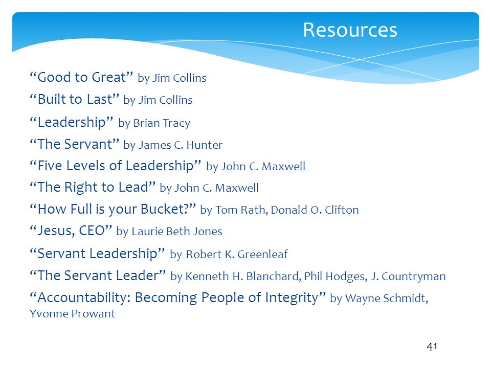Resources Good to Great by Jim Collins