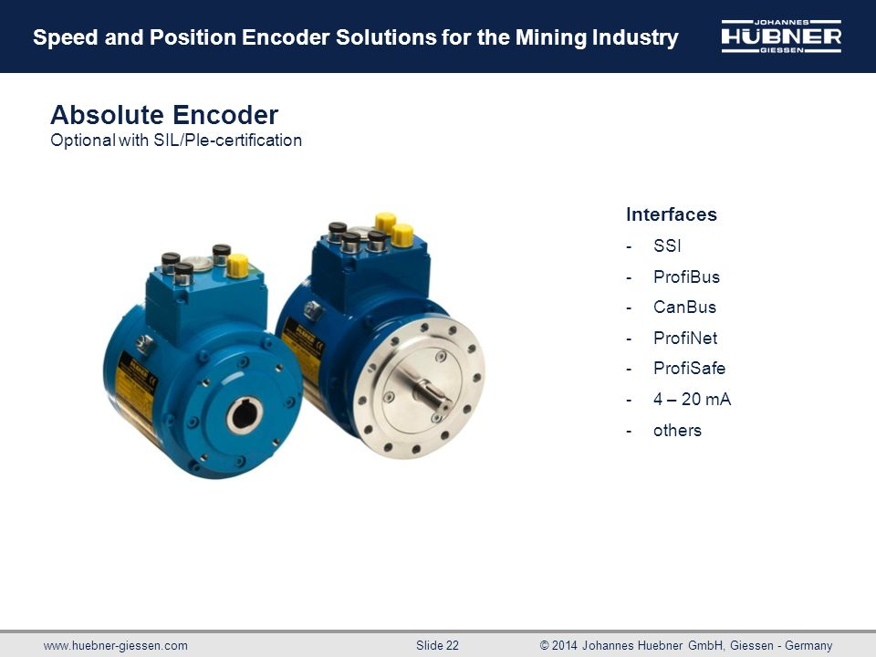 Absolute Encoder Optional with SIL/Ple-certification