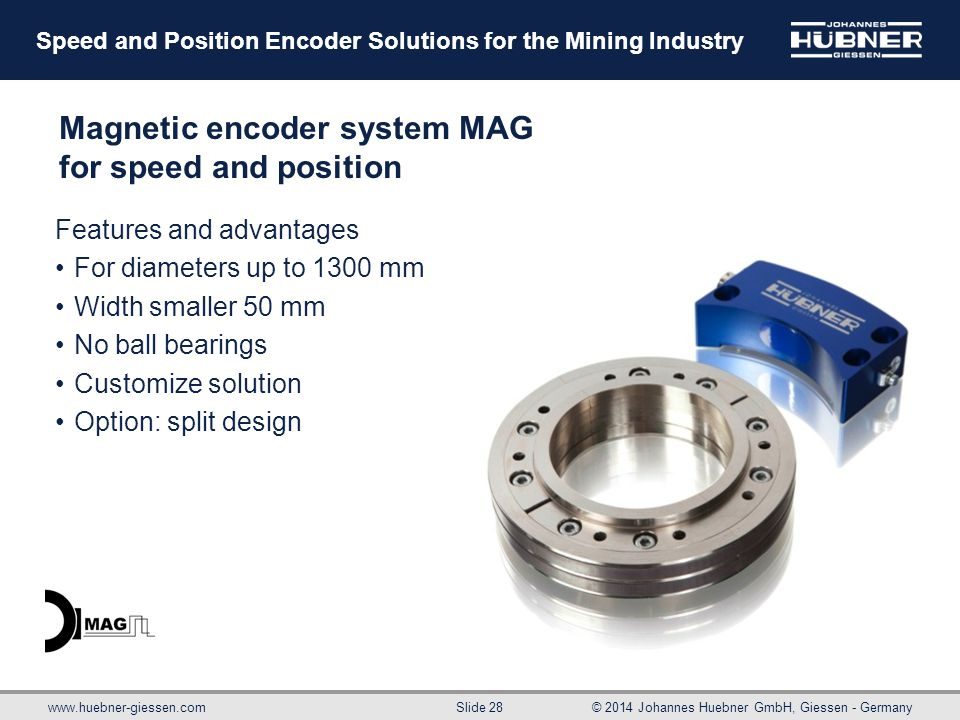 Magnetic encoder system MAG for speed and position