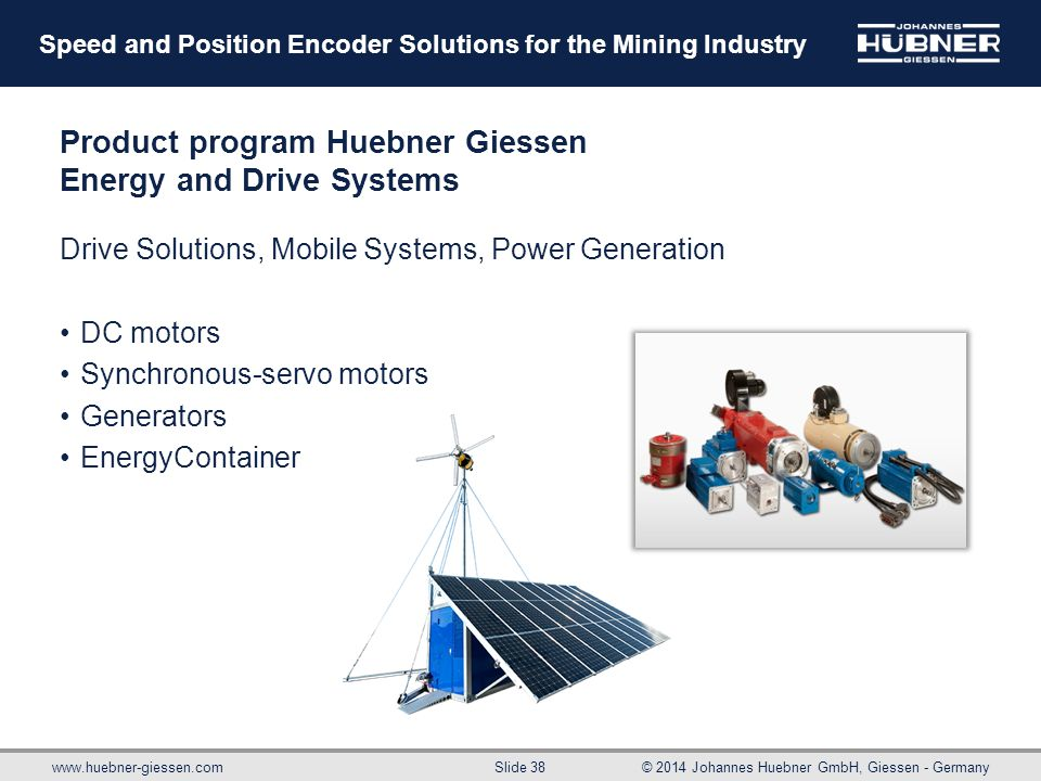 Product program Huebner Giessen Energy and Drive Systems