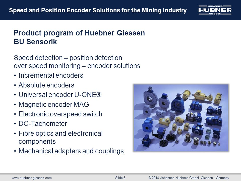 Product program of Huebner Giessen BU Sensorik