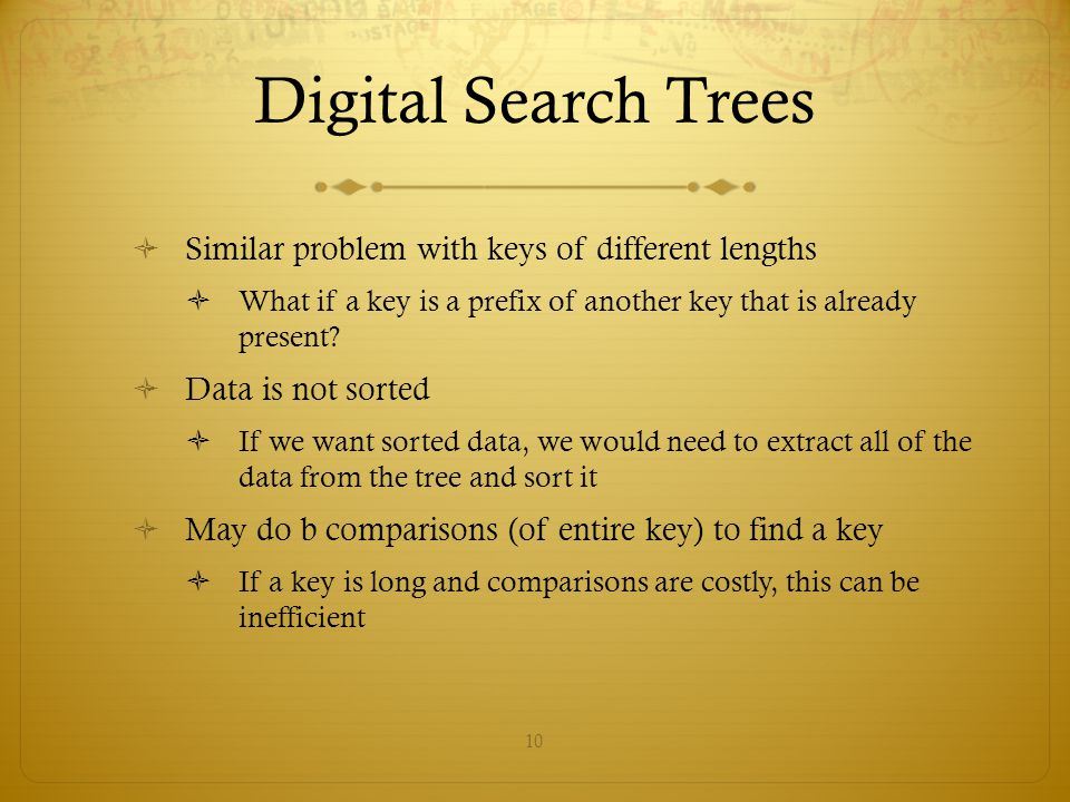 Digital Search Trees Similar problem with keys of different lengths