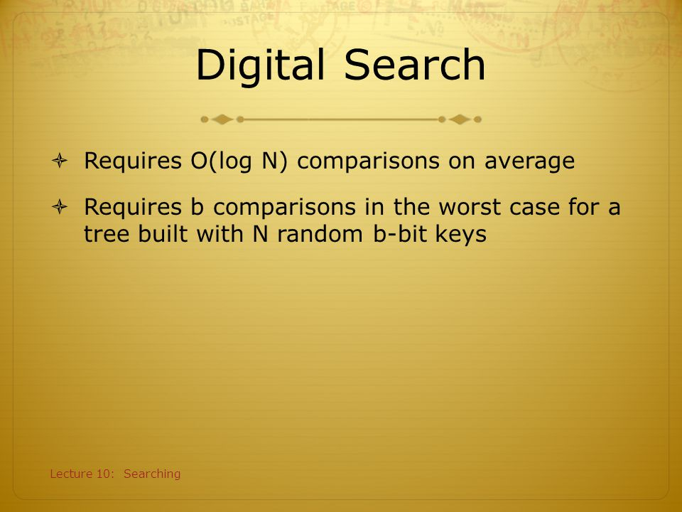 Digital Search Requires O(log N) comparisons on average