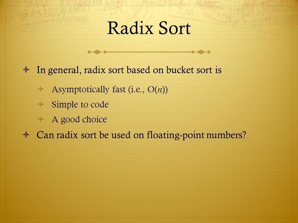 Radix Sort In general, radix sort based on bucket sort is