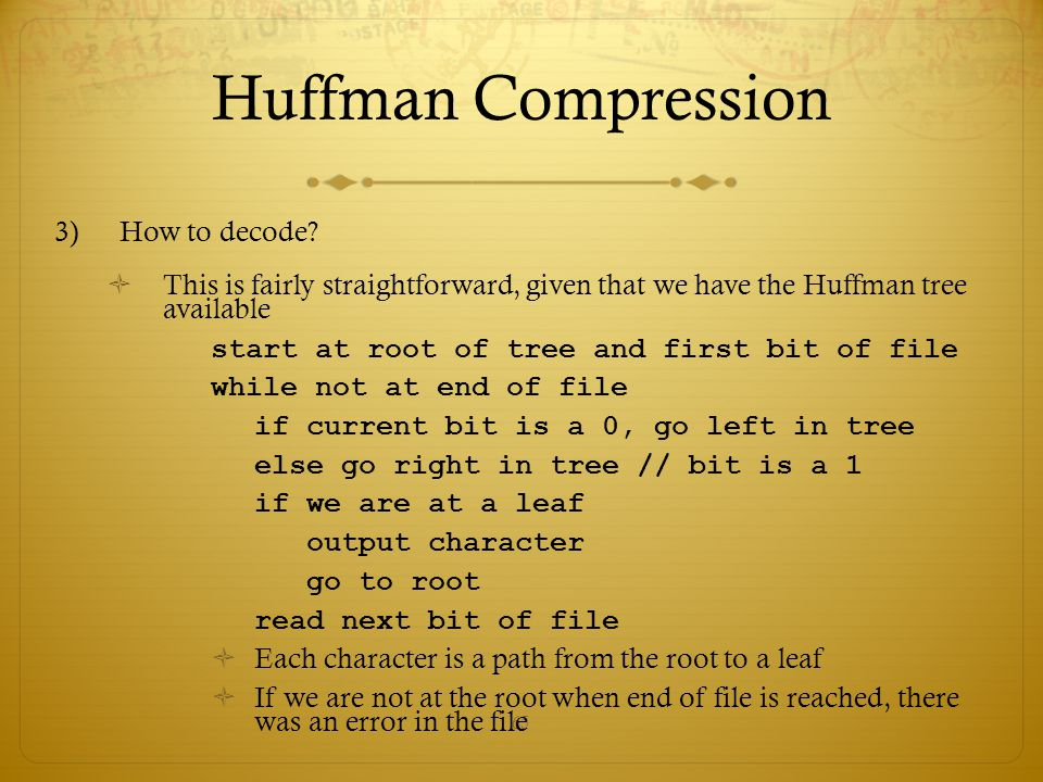 Huffman Compression How to decode