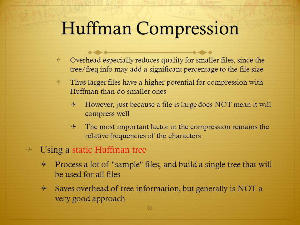 Huffman Compression Using a static Huffman tree