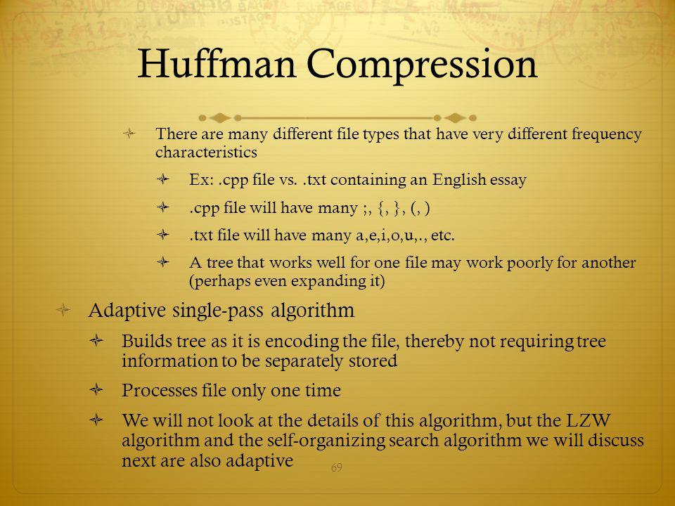 Huffman Compression Adaptive single-pass algorithm