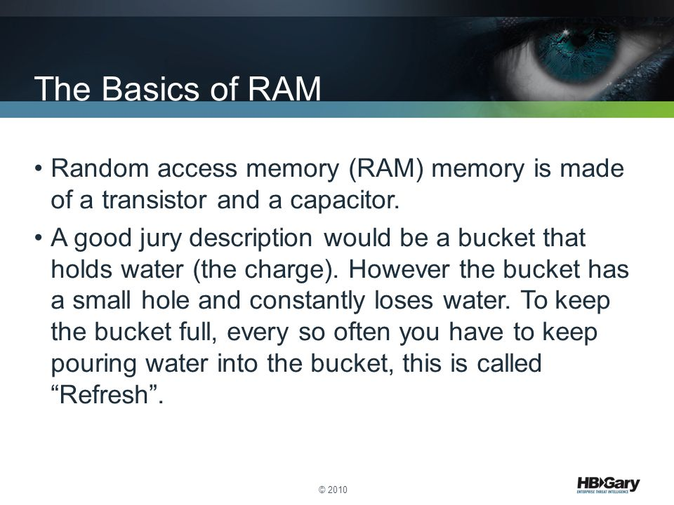 The Basics of RAM Random access memory (RAM) memory is made of a transistor and a capacitor.
