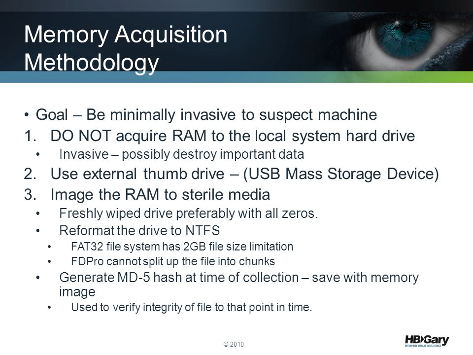Memory Acquisition Methodology