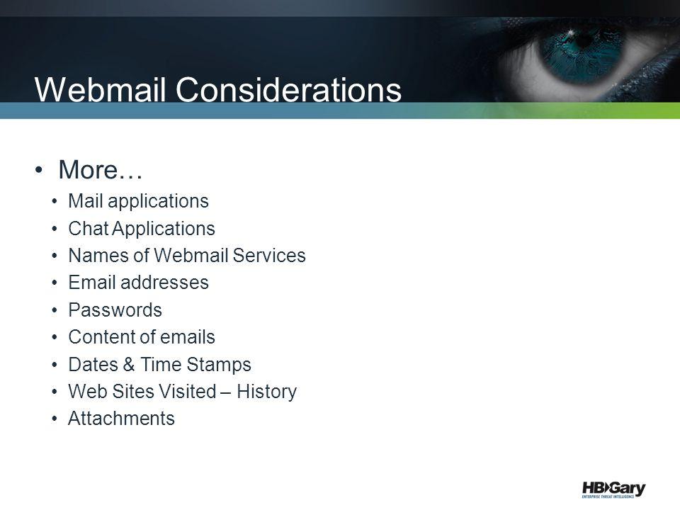 Webmail Considerations