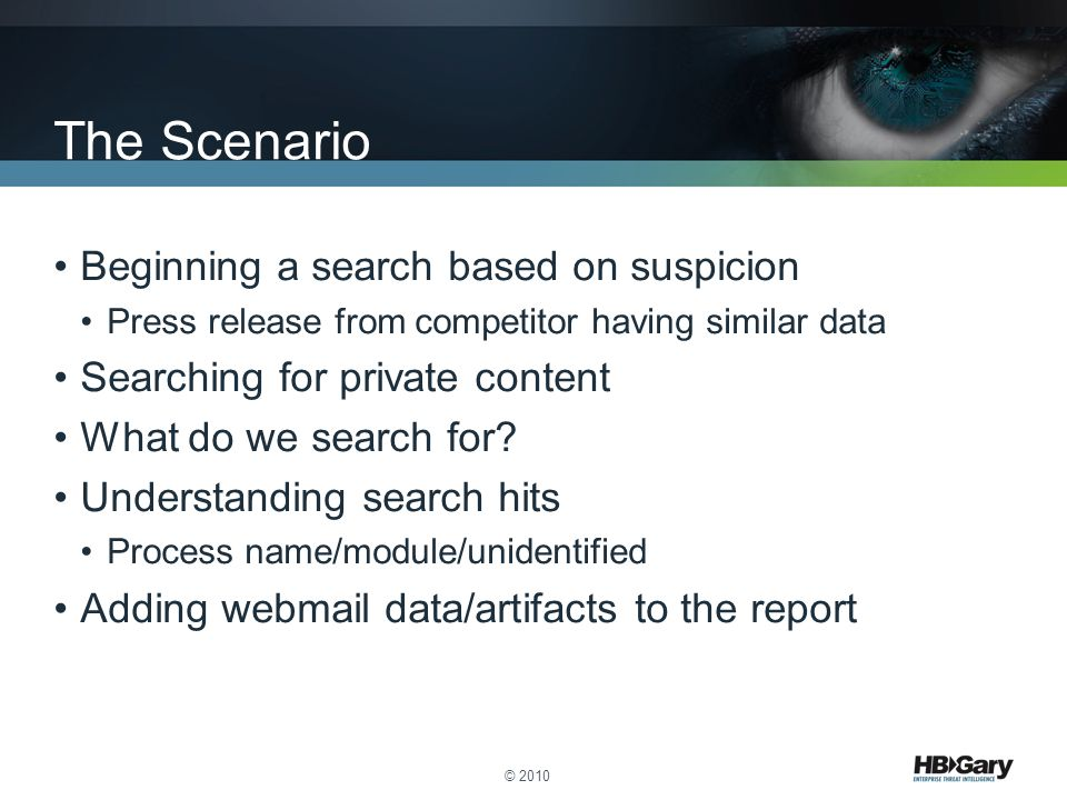 The Scenario Beginning a search based on suspicion