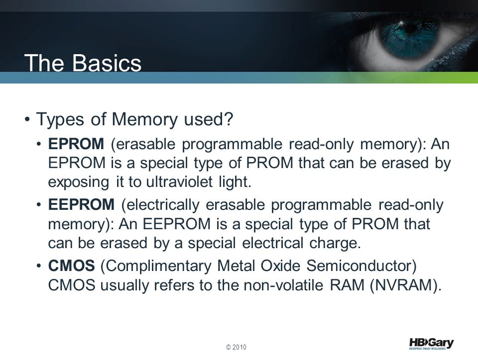 The Basics Types of Memory used