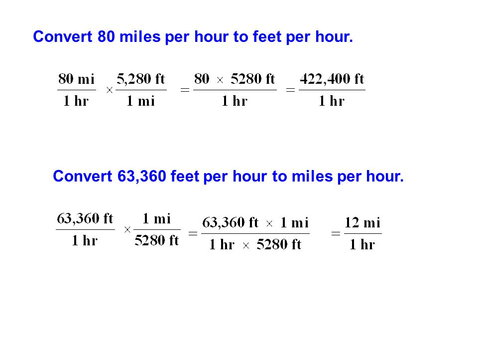 Convert 80 miles per hour to feet per hour.