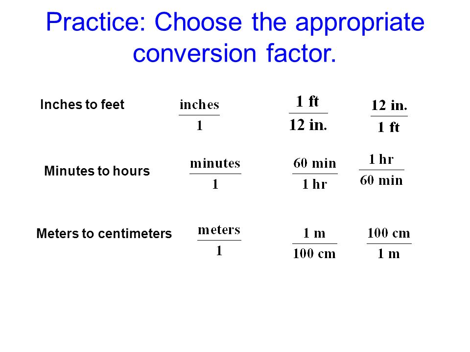 Practice: Choose the appropriate conversion factor.
