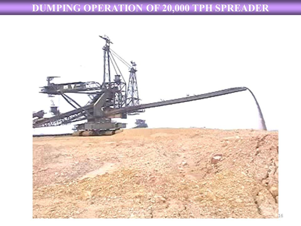 DUMPING OPERATION OF 20,000 TPH SPREADER