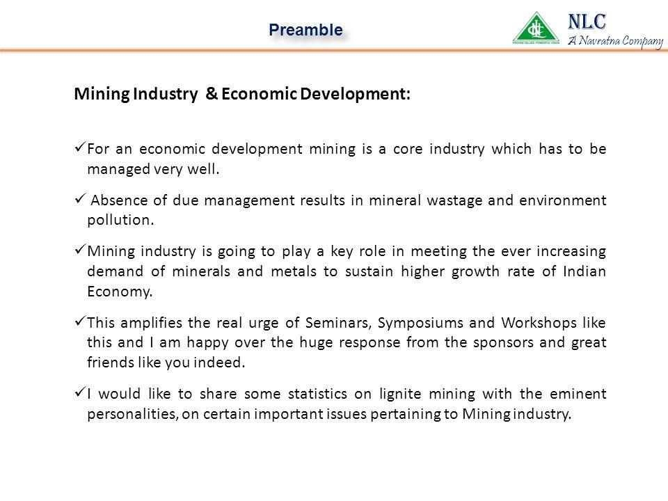 NLC Mining Industry & Economic Development: Preamble