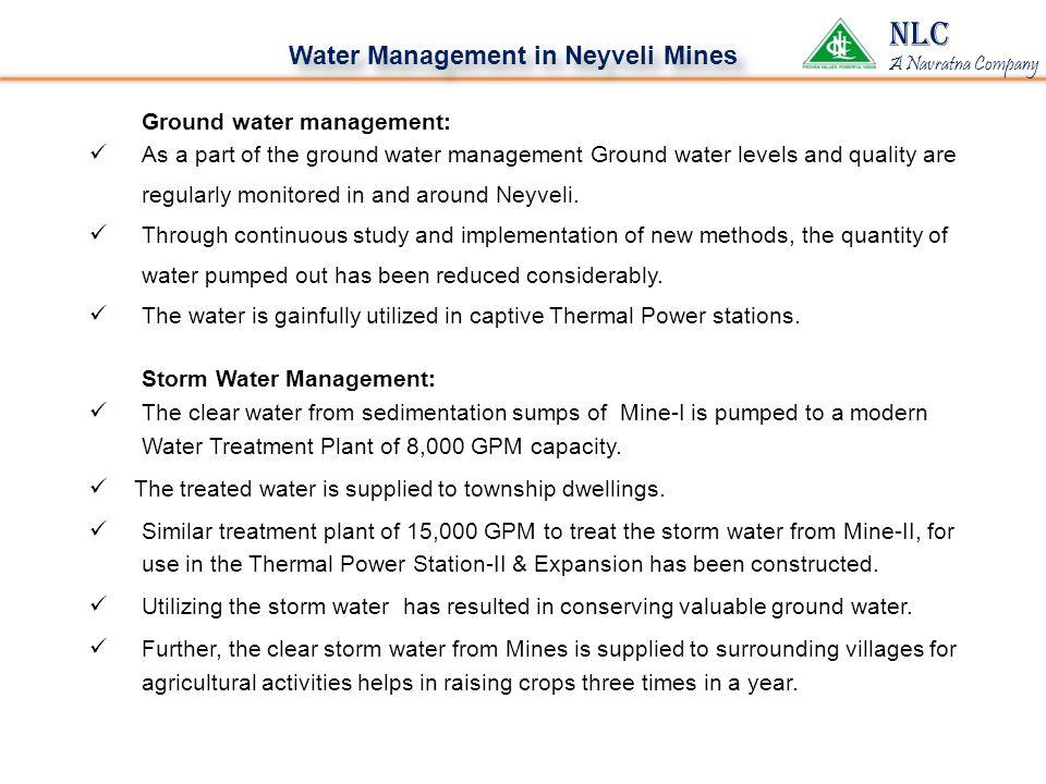 NLC Water Management in Neyveli Mines Ground water management: