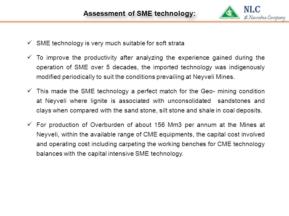 NLC Assessment of SME technology: