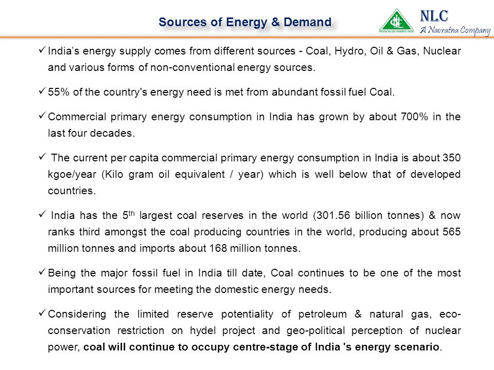 Sources of Energy & Demand