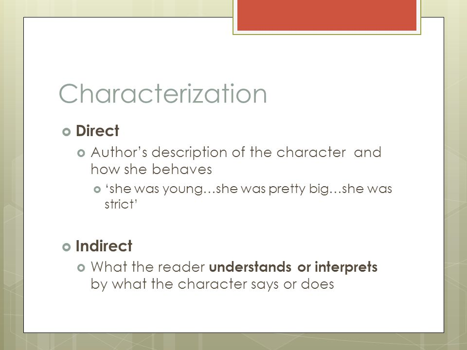 Characterization Direct Indirect