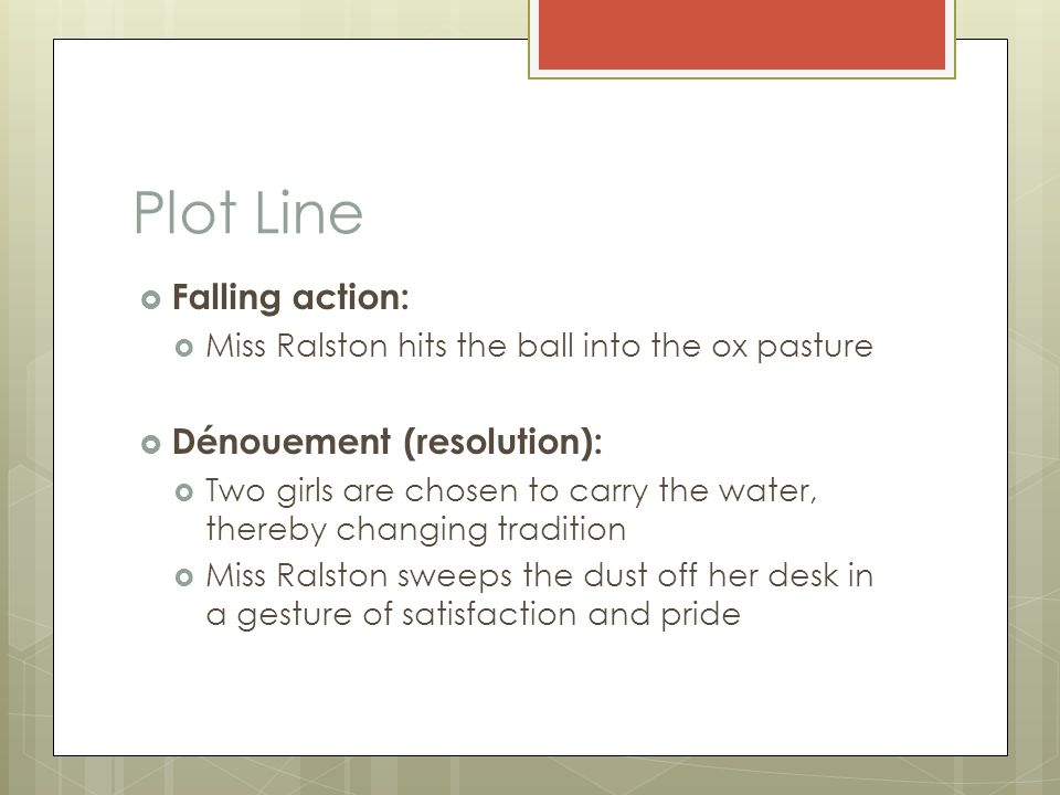 Plot Line Falling action: Dénouement (resolution):
