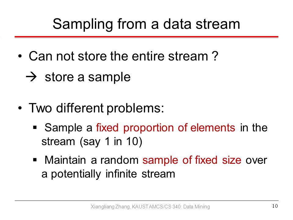 Sampling from a data stream