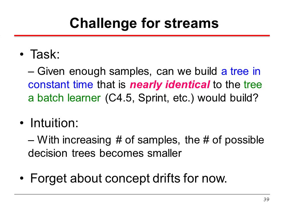 Challenge for streams Task: Intuition: