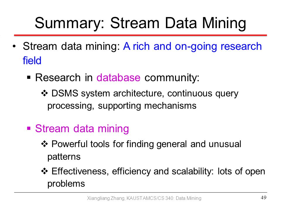 Summary: Stream Data Mining