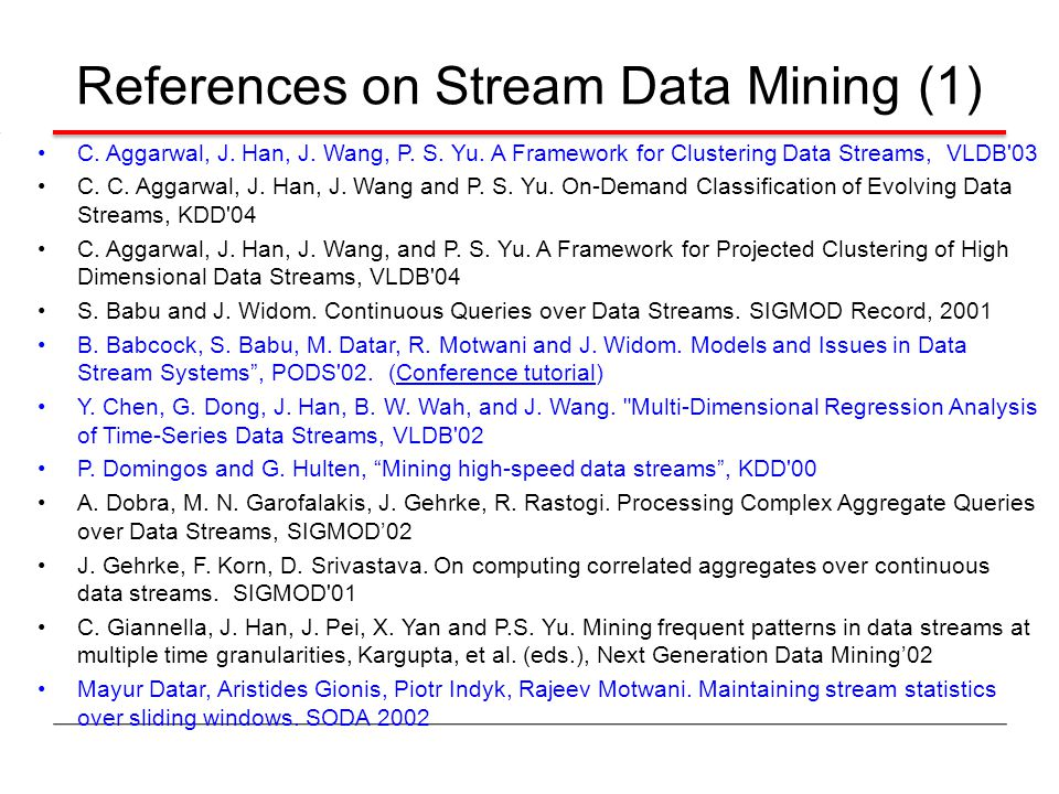 References on Stream Data Mining (1)