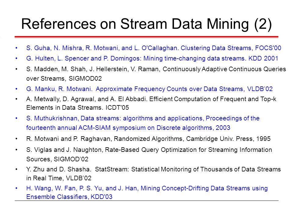 References on Stream Data Mining (2)