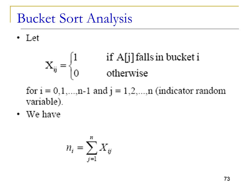 Bucket Sort Analysis